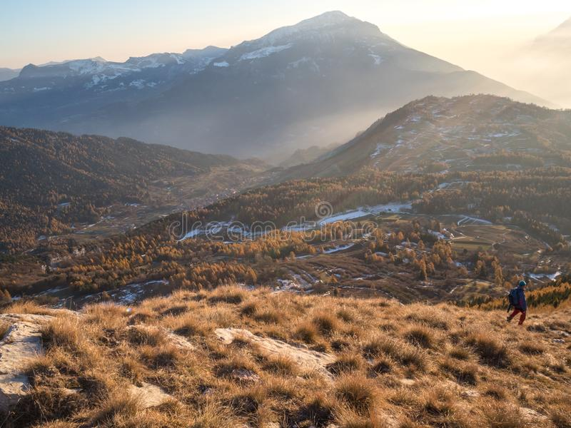 Looking at the view on Stivo mountain stock image