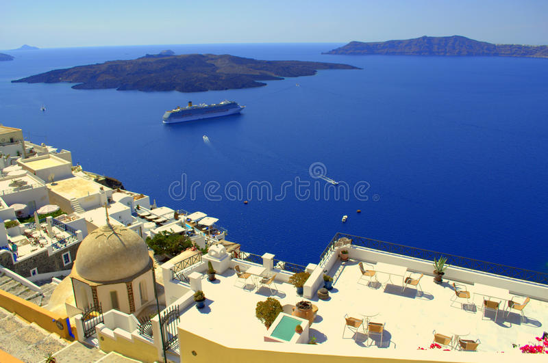 Scenic Santorini islands view stock photography