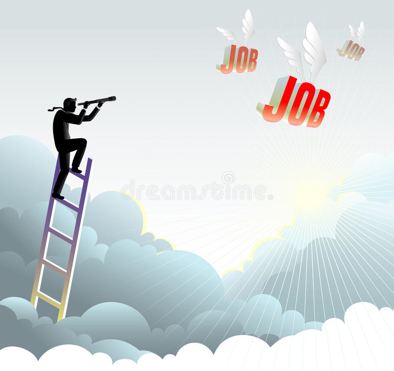 Looking Where the Job has gone. Abstract metaphor illustration of a person high above the clouds in search of job royalty free illustration