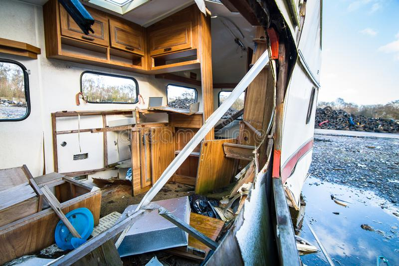 Looking into a wrecked RV trailer stock image