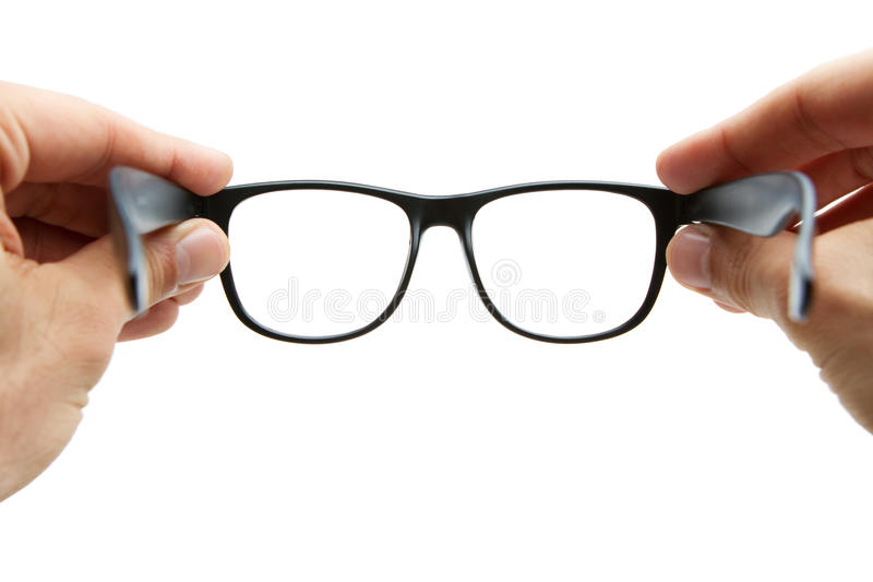 Lookinh através dos eyeglasses fotografia de stock royalty free