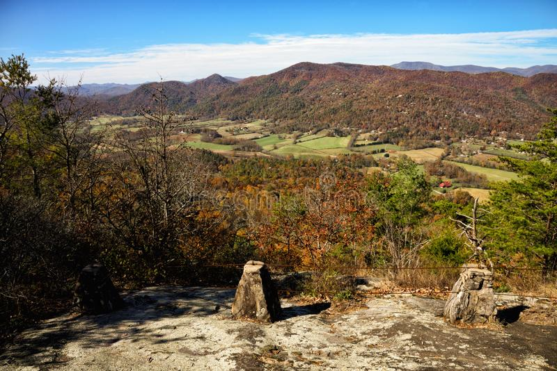 Lookoff Mountain Overlook at Black Rock Mountain State Park. Beautiful autumn scenic view of the Blue Ridge Mountains of the Appalachian Mountains from a rocky royalty free stock photos