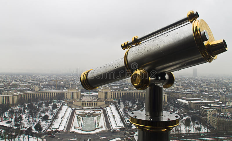Lookout from Eiffel tower with Trocadero Squaer at the background stock image