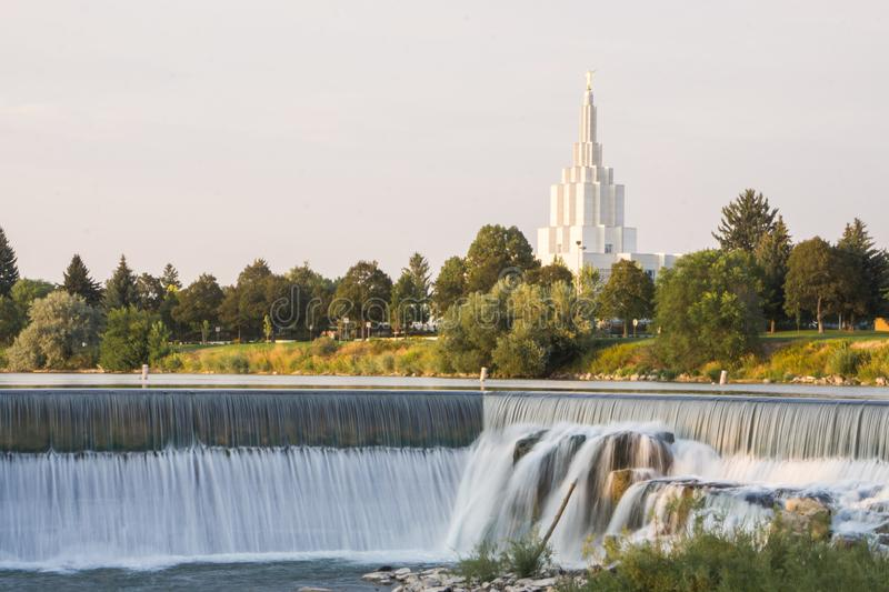 LDS Idaho Falls Temple. A lookout at the Idaho Falls temple with the waterfall in front royalty free stock images