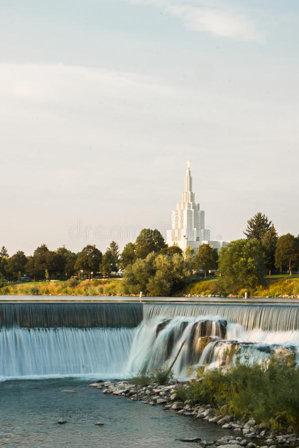 LDS Idaho Falls Temple. A lookout at the Idaho Falls temple with the waterfall in front stock photo