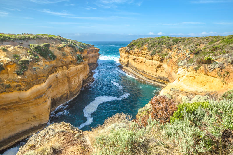 Port Campbell National Park. Lookout Loch Ard Gorge in Port Campbell National Park in Great Ocean Road, Victoria State, South Australia. Shipwreck Walk begins royalty free stock images