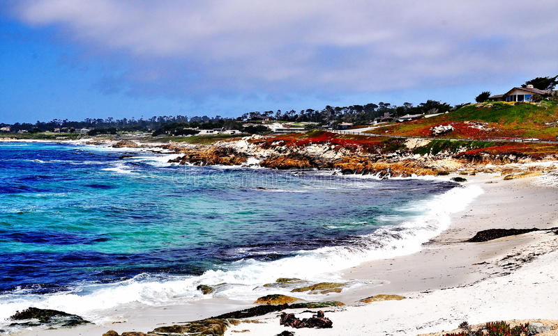 Lookout at Pebble Beach in California royalty free stock photos