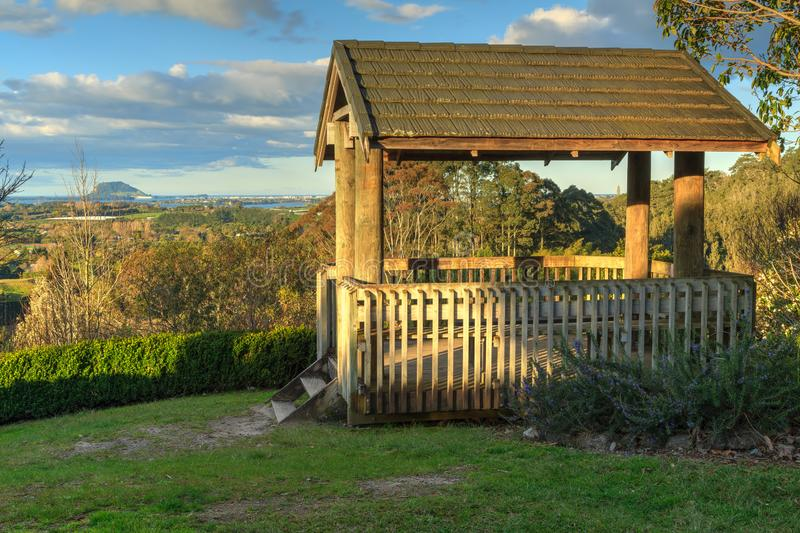 Lookout platform with panoramic view in the Bay of Plenty, New Zealand stock photos