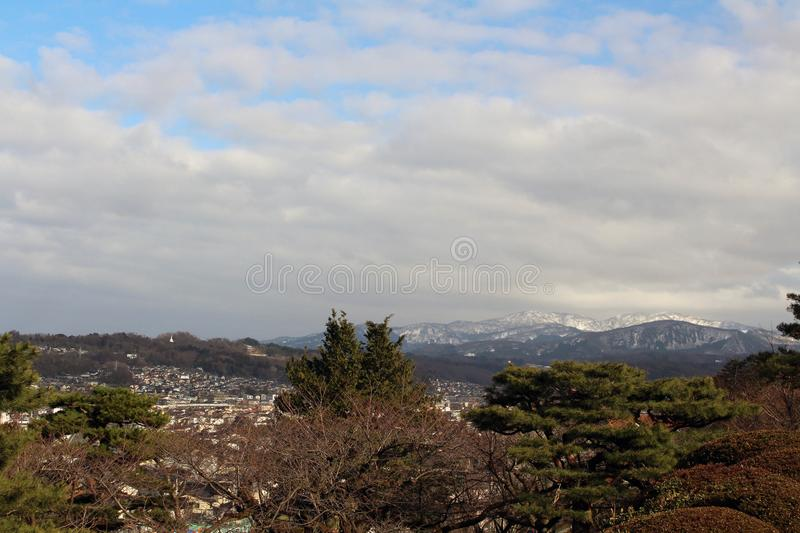 The lookout spot from Kenrokuen, one of the most beautiful gardens in Japan. The view around Kenrokuen, one of the most beautiful gardens in Japan. Taken in stock image