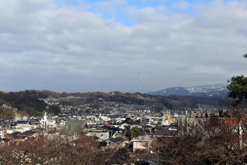 The lookout spot from Kenrokuen, one of the most beautiful gardens in Japan. The view around Kenrokuen, one of the most beautiful gardens in Japan. Taken in royalty free stock images
