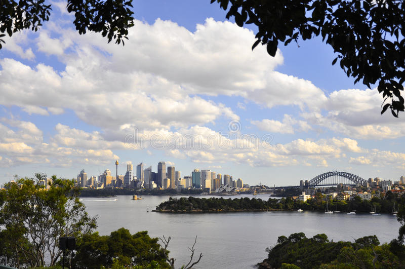 Lookout of Sydney Australia. View of the skyline, opera house, and harbor bridge in Sydney Australia stock photography