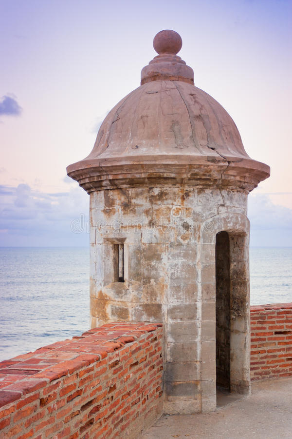 Lookout tower at El Morro Castle fort in old San Juan royalty free stock photos