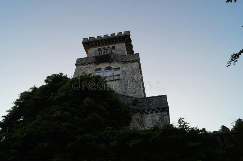The lookout tower on mount Akhun. stock photos