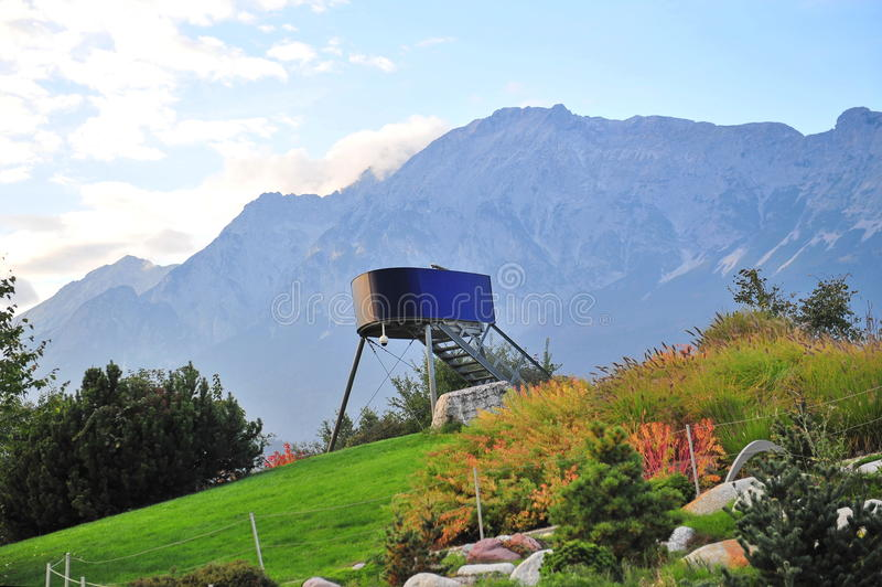 Lookout tower in Swarovski Crystal World park stock images