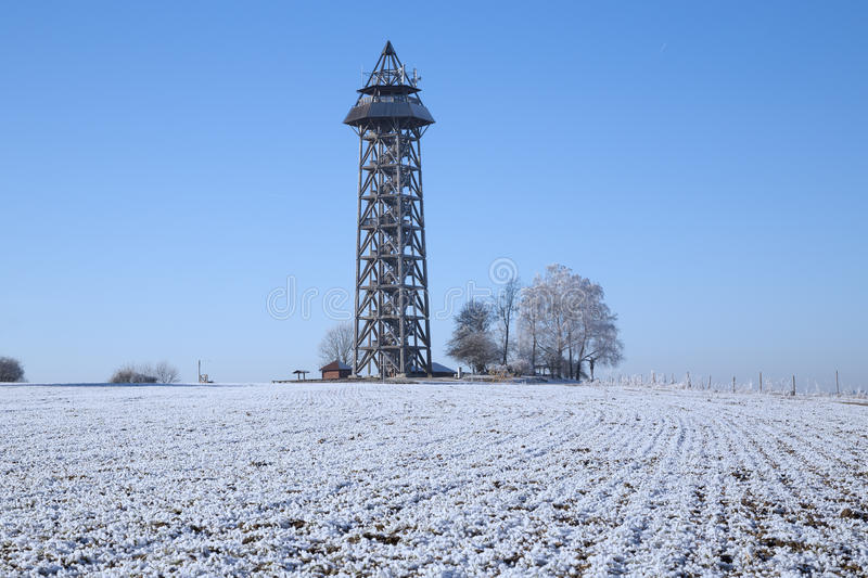 Download Lookout Tower In Winter Stock Photo - Image: 83709090