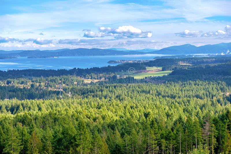 Lookout view of Ladysmith shoreline from top of a mountain, Vancouver Island, BC, Canada royalty free stock photo