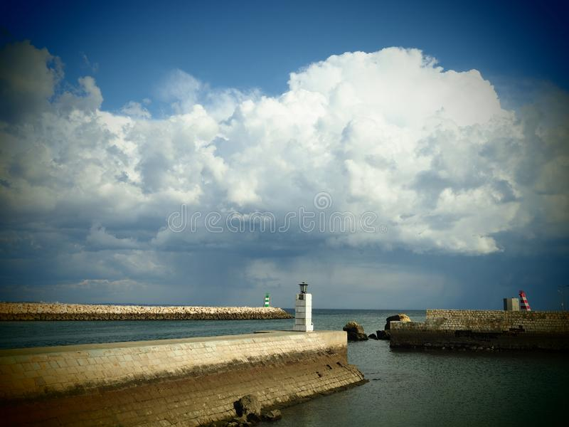 Stormy sky over Lagos in Portugal royalty free stock photo