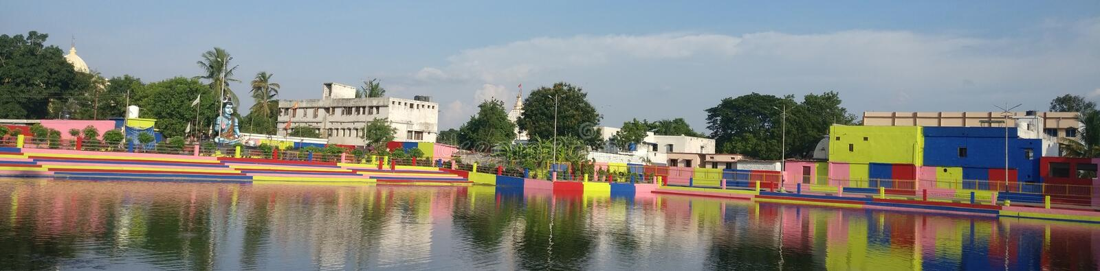 Looks like a panorama but isn& x27;t. Park with a Lord Shiva Temple, Bhilai, India royalty free stock photography