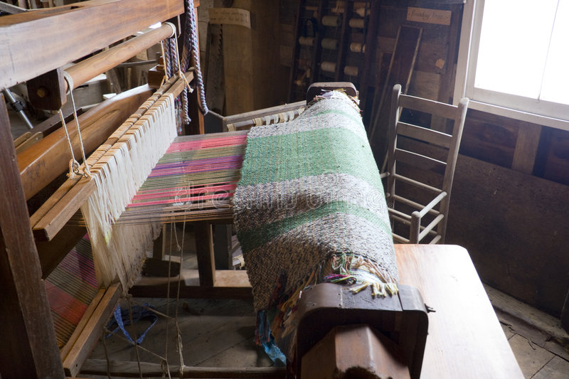 Loom. Antique weaving loom inside an old mill in central Indiana royalty free stock images