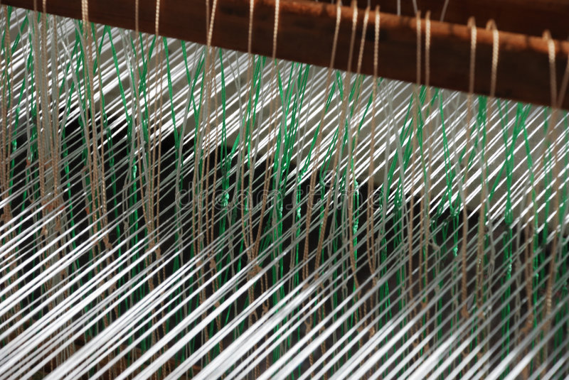 Loom. Part of loom white thread homemade horizontal royalty free stock images