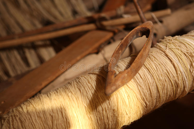 Loom. Classic asian loom at work, close-up view stock photos