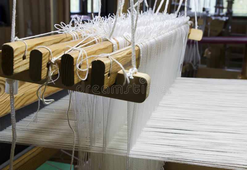 Loom closeup. Closeup of how the loom is built up with threads, picture from the North of Sweden stock image