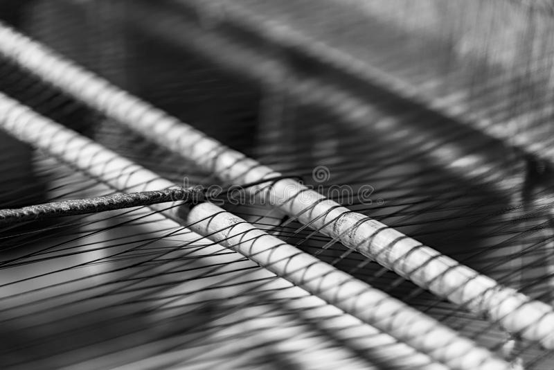 Loom. Detail of a Loom in black and white stock photography