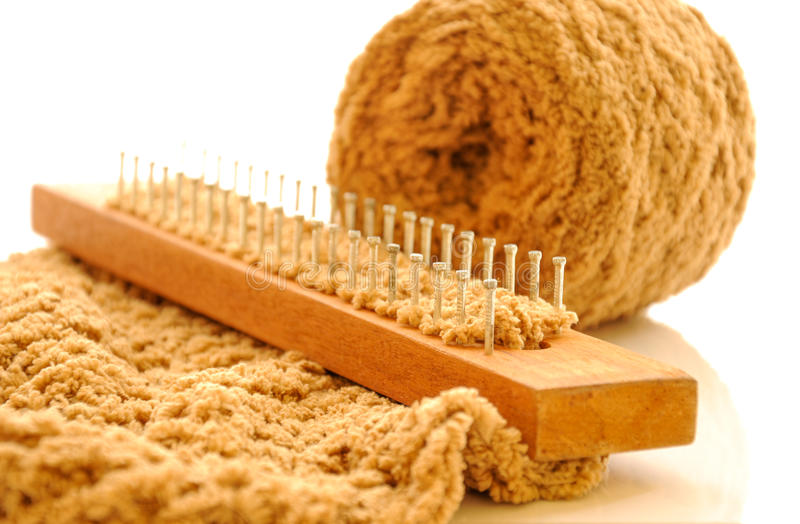Download Loom knitting with wool stock photo. Image of country - 25760382