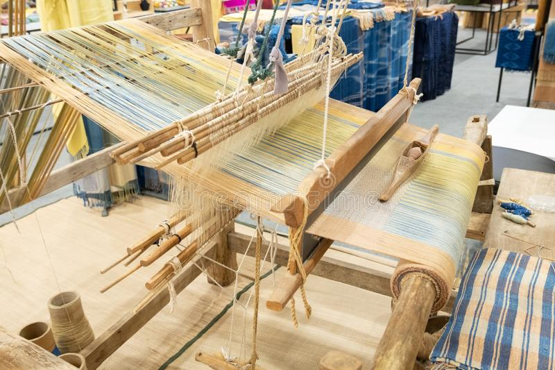 Loom. Weaving is a tool for weaving for various sewing materials royalty free stock photo