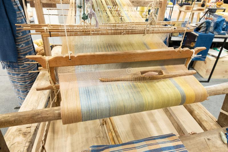 Loom. Weaving is a tool for weaving for various sewing materials stock images