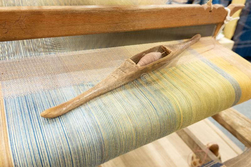Loom. Weaving is a tool for weaving for various sewing materials stock image