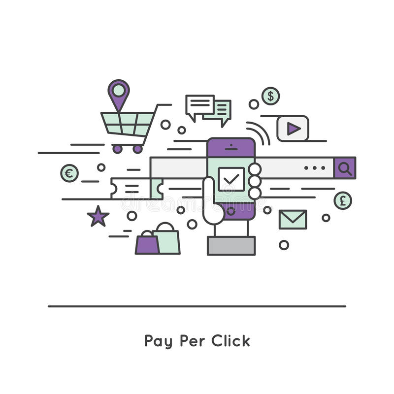 Loon-per-klik PPC kosten per klik CPC Internet reclamemodel stock illustratie