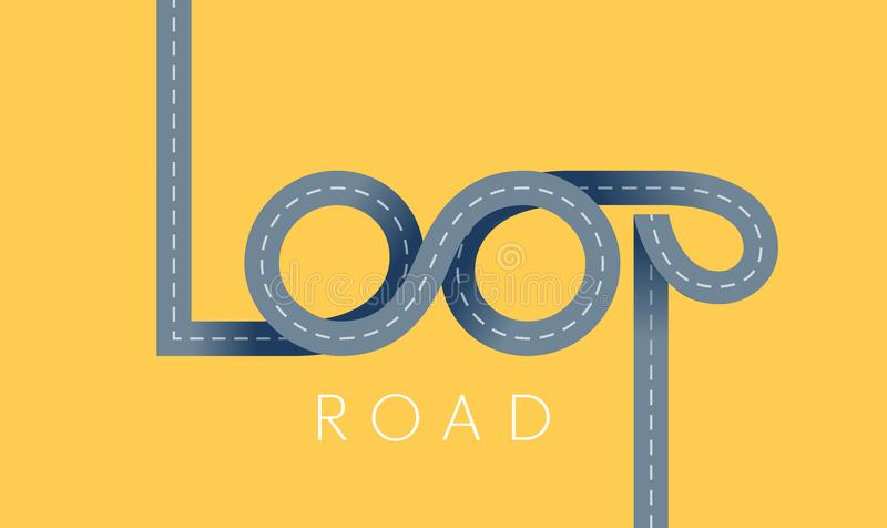 Loop asphalt road concept. Vector ribbon lettering stock photos