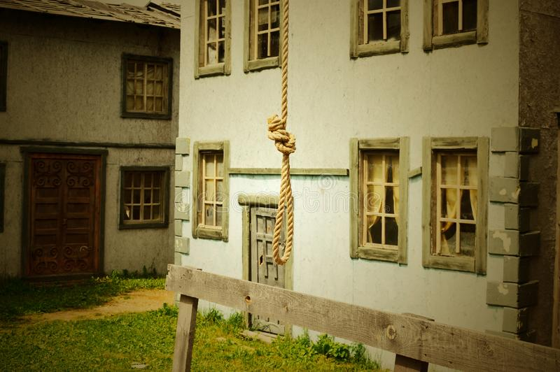 Loop from a rope for the hanged man on a scaffold. royalty free stock photo