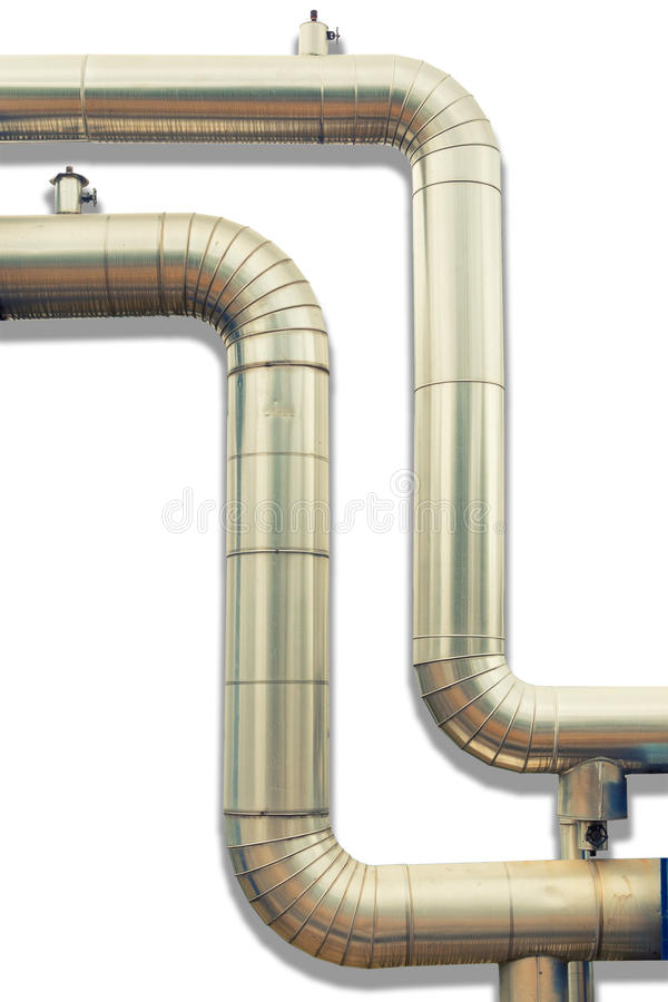 Loop steam pipeline on white isolate background. , Insulation pipe. stock photography