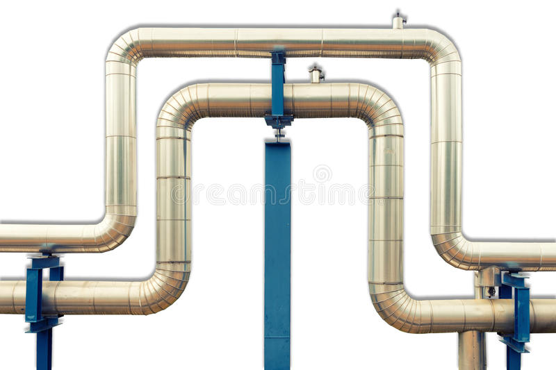 Loop steam pipeline on white isolate background. , Insulation pipe. stock images