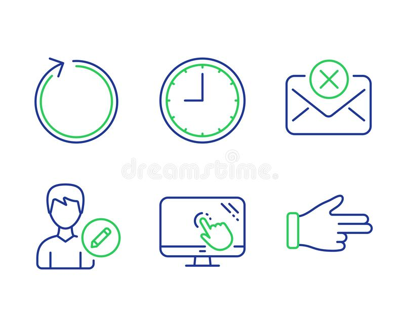 Loop, Time and Edit person icons set. Reject mail, Touch screen and Click hand signs. Vector. Loop, Time and Edit person line icons set. Reject mail, Touch royalty free illustration