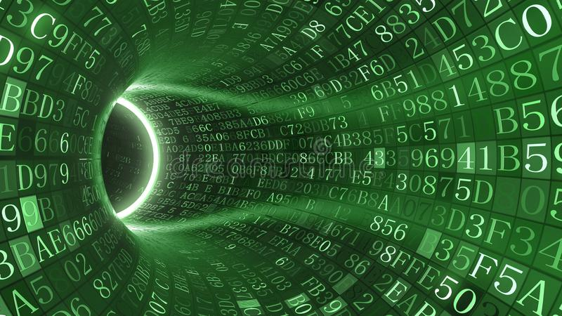 Green tunnel made of hexadecimal symbols. Internet service, information technology or big data related 3D rendering. Loopable green tunnel made of hexadecimal vector illustration