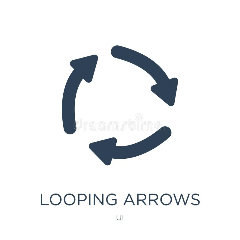 looping arrows icon in trendy design style. looping arrows icon isolated on white background. looping arrows vector icon simple stock illustration