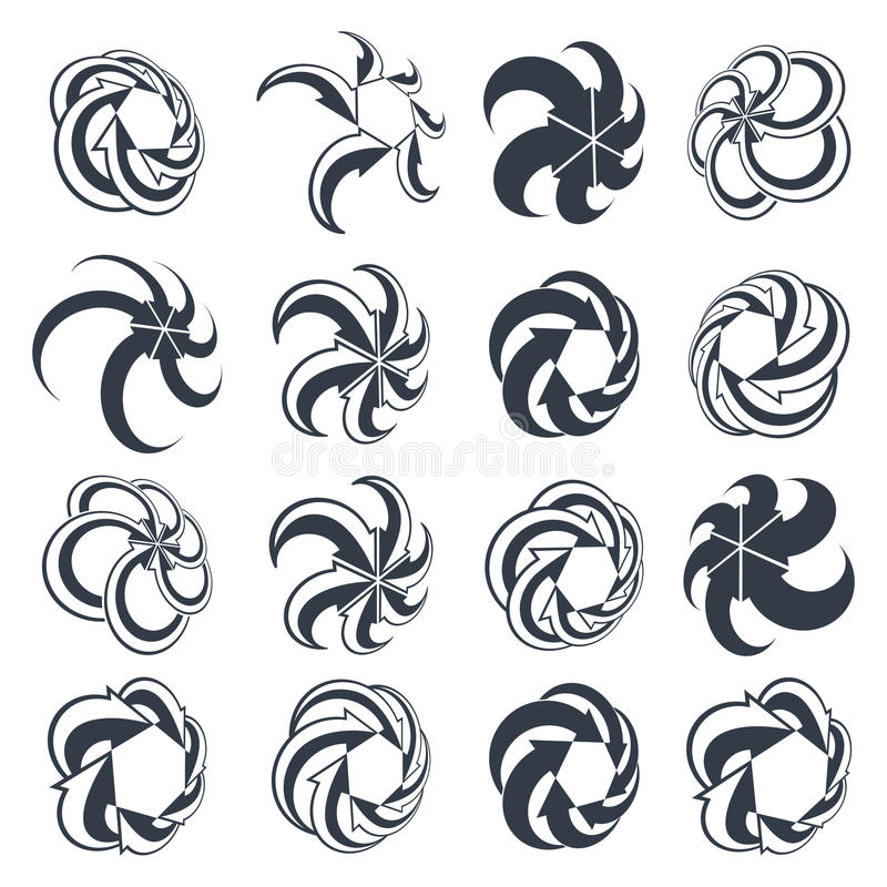 Looping arrows vector abstract symbol collection, single color c royalty free illustration