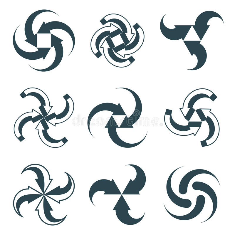 Looping arrows vector abstract symbol collection royalty free illustration