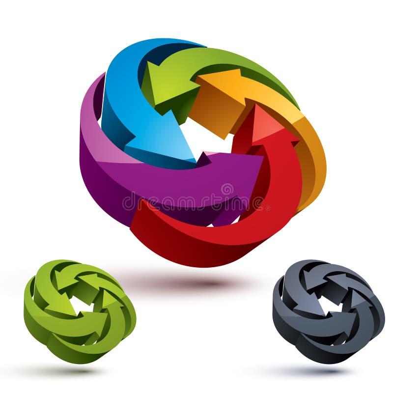 Looping arrows vector abstract symbol, conceptual special made 3 vector illustration