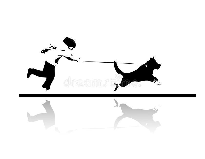 Looppas met mijn van een hond hond stock illustratie
