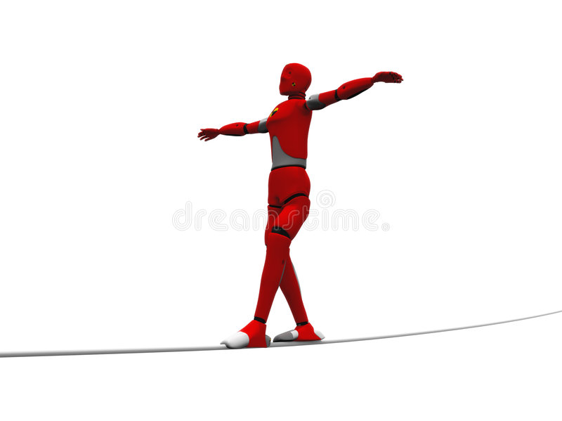 Loose cord. Crash test dummy on the loose cord over a white background royalty free illustration