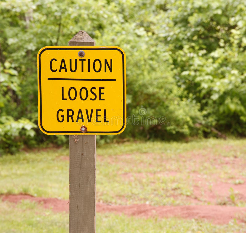 Loose Gravel Sign. In outdoor area royalty free stock photo