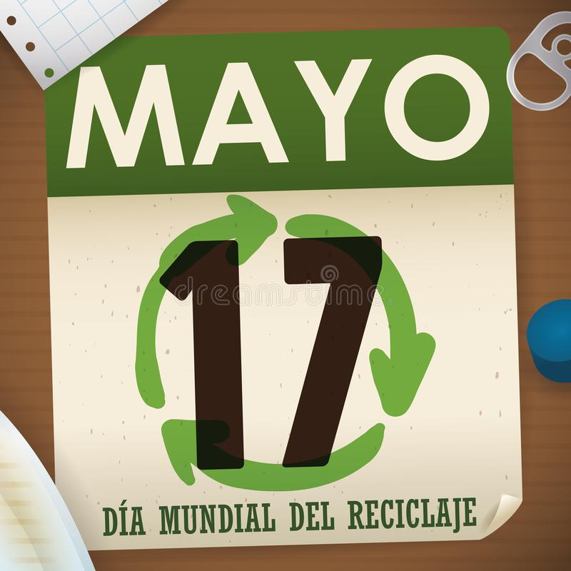 Loose-leaf Calendar with Recyclable Materials around it for Recycling Day, Vector Illustration. Loose-leaf calendar with recyclable materials around it: notebook stock illustration