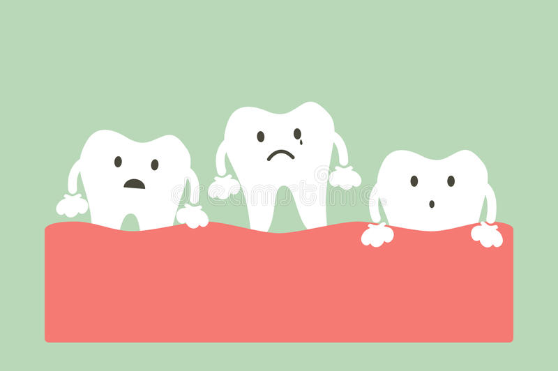 Loose tooth. Dental cartoon vector, loose tooth vector illustration