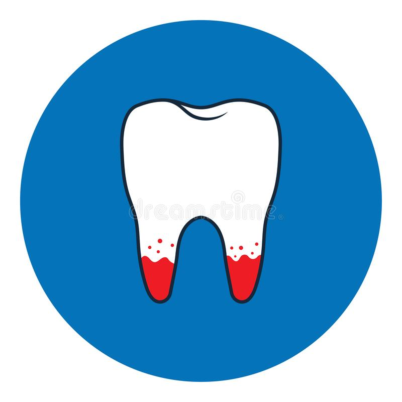 Loose tooth icon. Vector Illustration isolated on blue background stock illustration