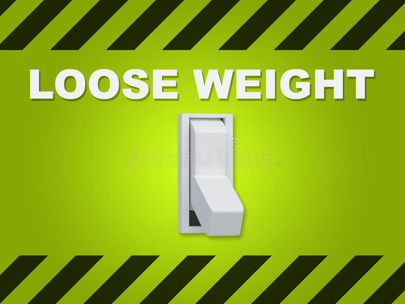 Loose Weight concept. 3D illustration of LOOSE WEIGHT title above an electric switch on green wall royalty free illustration
