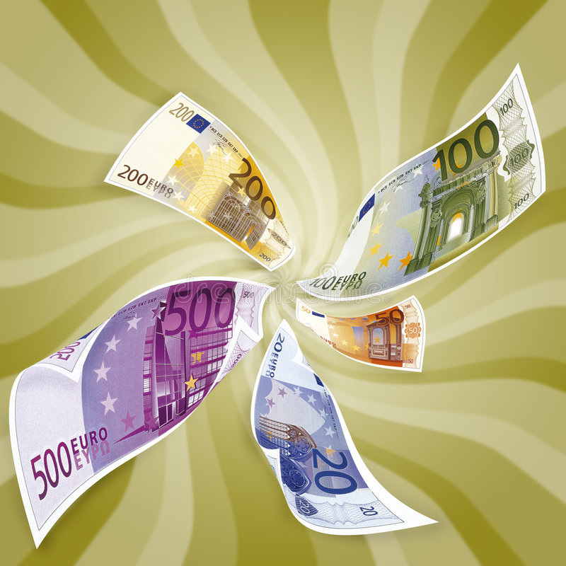Loosing money, concept. Ual image, Euros royalty free illustration